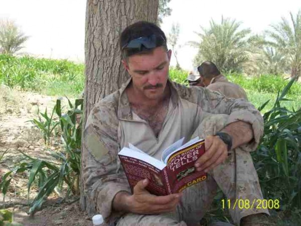 Jeffrey Wright reading Book of Tells while deployed in Iraq