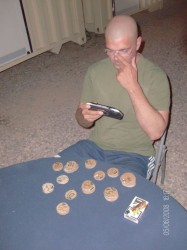 photo from Iraq showing improvised poker chips and deck of cards